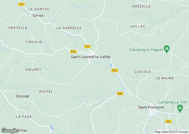 Map for Saint-Laurent-la-Vallee, Dordogne