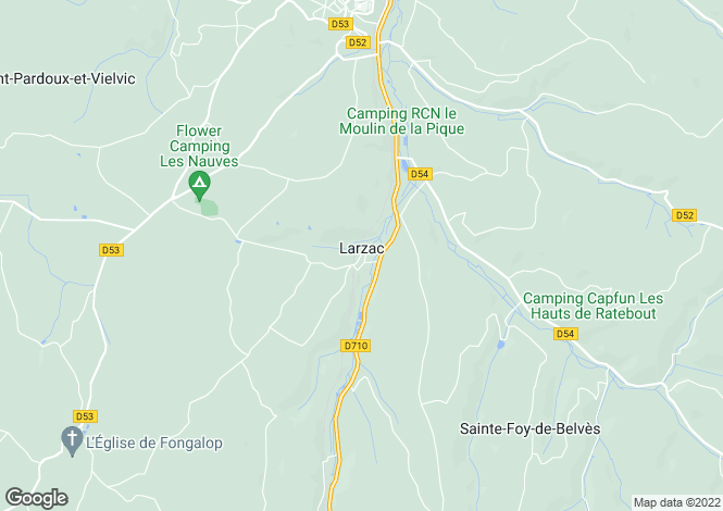 Map for LARZAC, Dordogne Area, S.W France - Aquitaine,