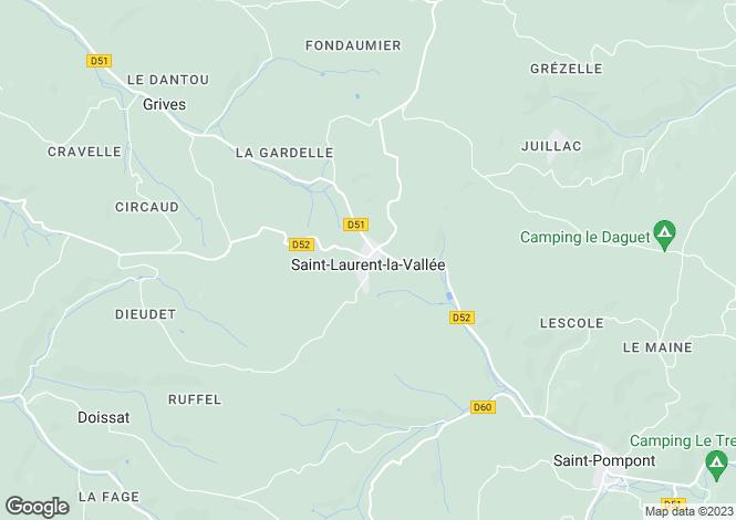 Map for Aquitaine, Dordogne, St-Laurent-la-Vallée
