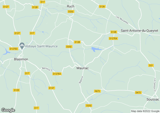Map for mauriac, Gironde, France