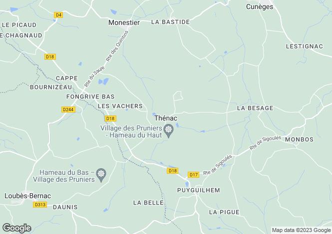 Map for Thenac, Dordogne, 24240, France
