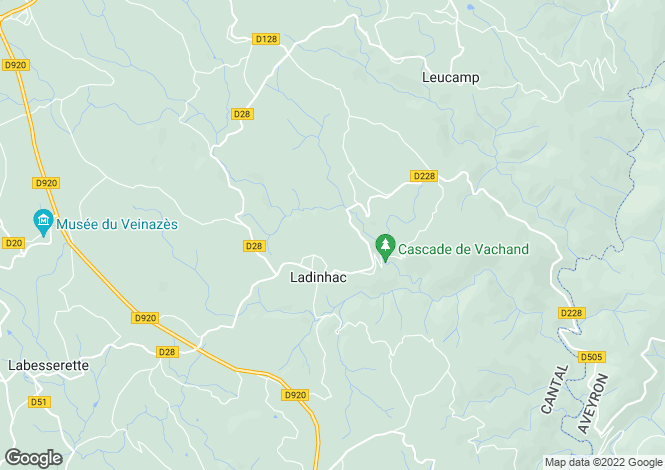 Map for Auvergne, Cantal, Ladinhac