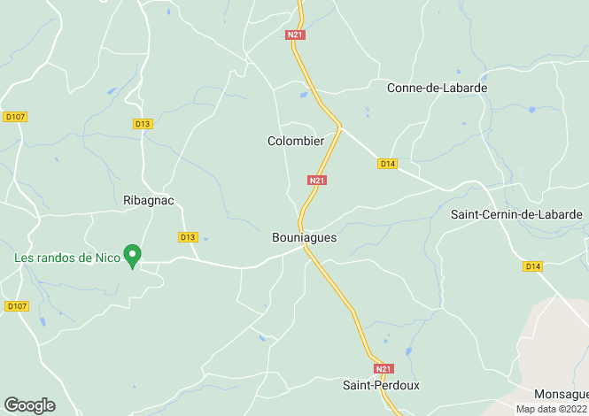 Map for bouniagues, Dordogne, France