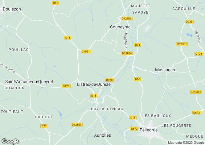 Map for Aquitaine, Gironde, Listrac-de-Durèze