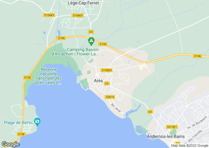 Map for arès, Gironde, France