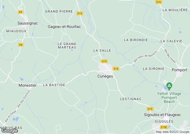 Map for cuneges, Dordogne, France