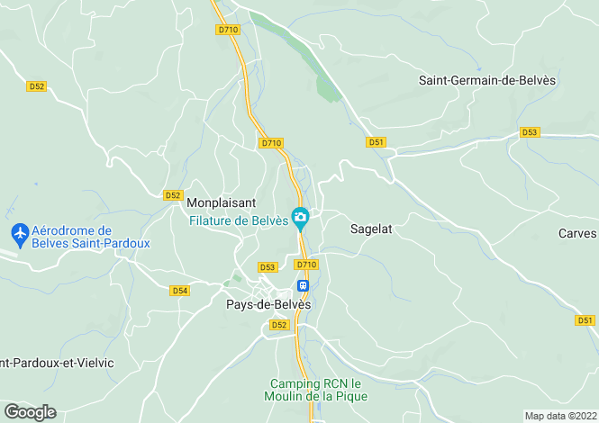 Map for Aquitaine, Dordogne, Monplaisant