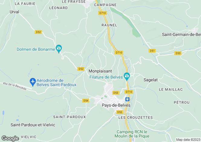 Map for Monplaisant, Aquitaine, 24170, France