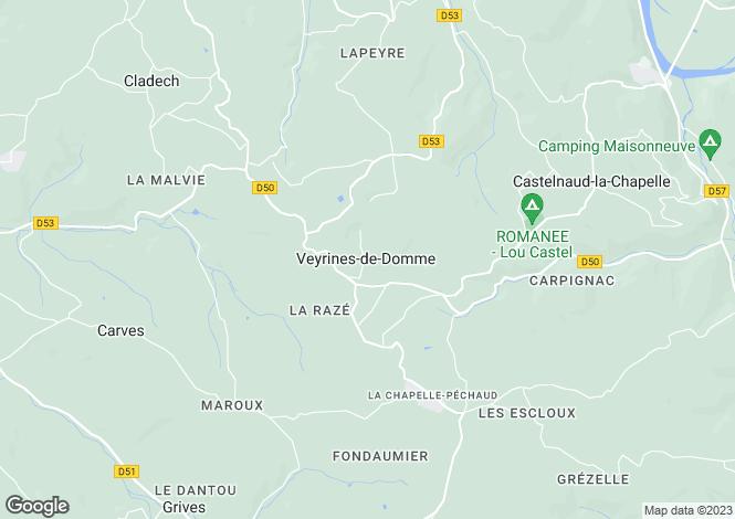 Map for VEYRINES DE DOMME, Dordogne Area, Nouvelle-Aquitaine,