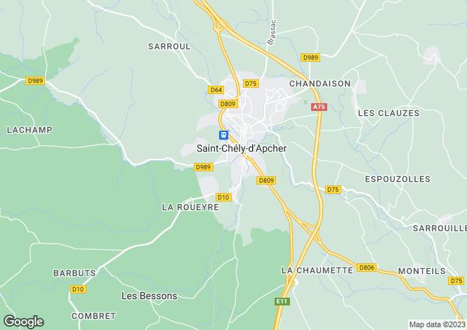 Map for Languedoc-Roussillon, Lozère, Saint-Chély-d'Apcher