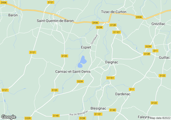 Map for camiac-et-st-denis, Gironde, France