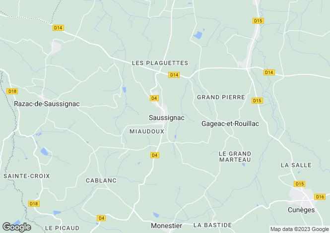 Map for saussignac, Dordogne, France