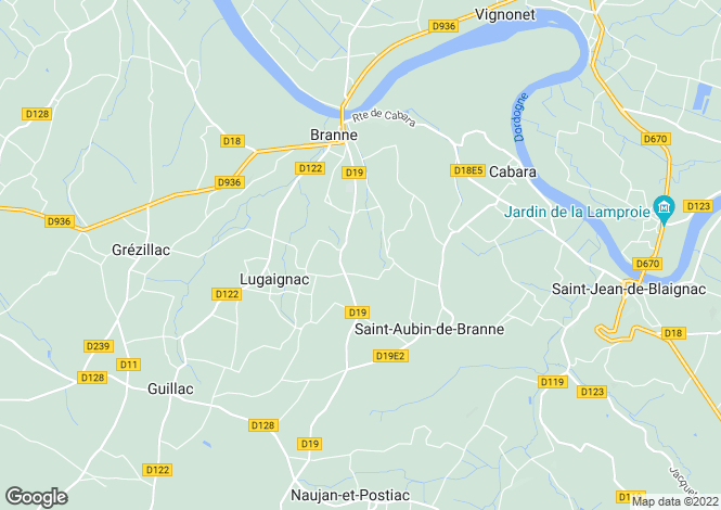 Map for branne, Gironde, France