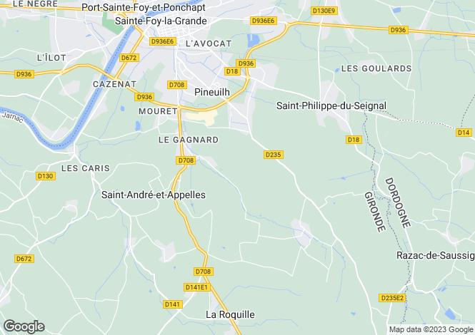 Map for proche-sainte-foy-la-grande, Dordogne, France