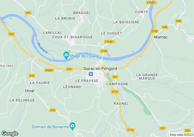 Map for Aquitaine, Dordogne, Siorac-en-Périgord