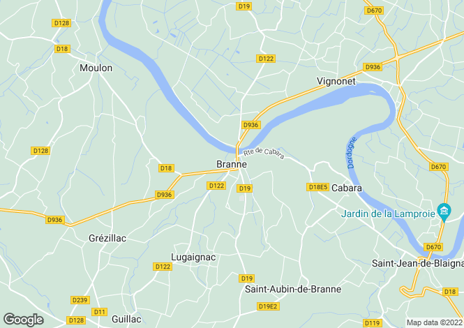 Map for Branne, Aquitaine, France