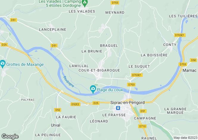 Map for Secteur: Coux et Bigaroque, Dordogne