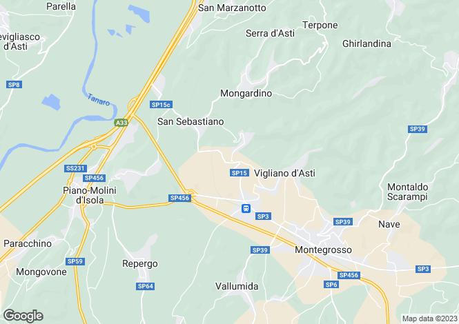 Map for Vigliano D'asti, Asti, Piedmont