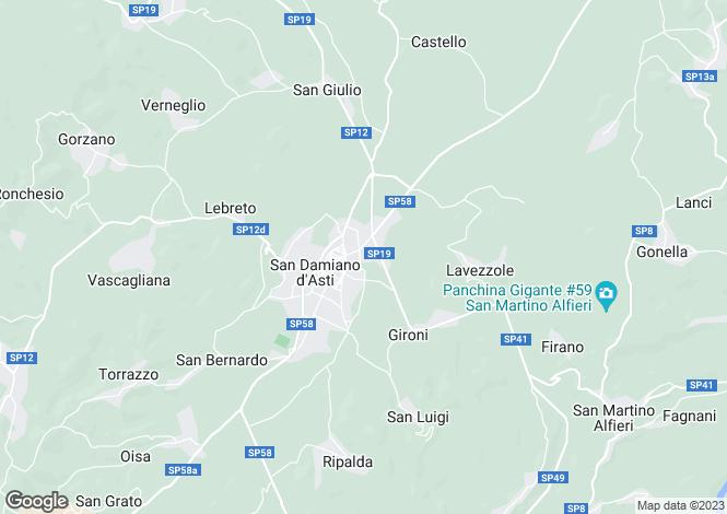 Map for San Damiano d`Asti, Asti, Piedmont