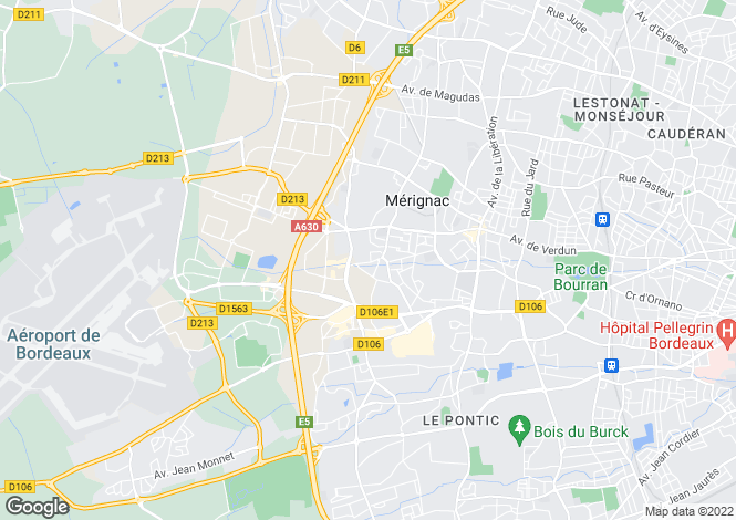 Map for Mérignac, 33700, France