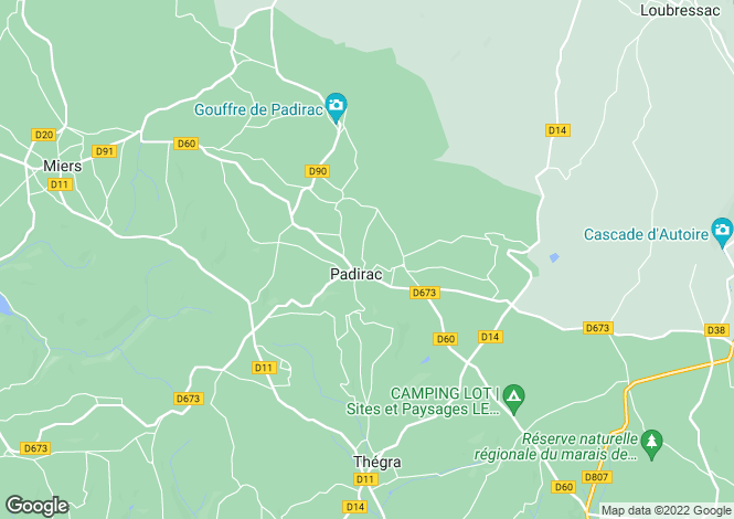 Map for padirac, Lot, France