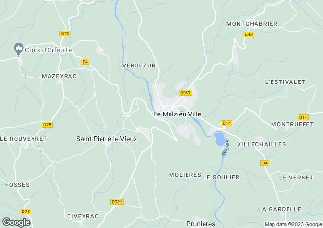Map for Languedoc-Roussillon, Lozère, Le Malzieu-Forain