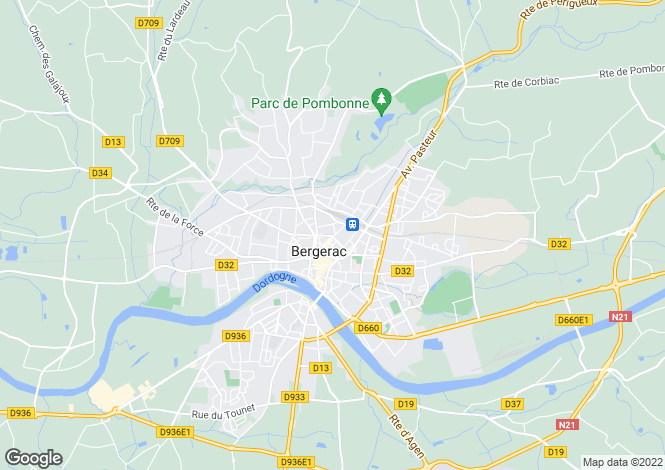 Map for bergerac, Dordogne, France