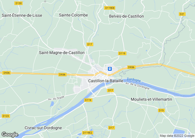 Map for castillon-la-bataille, Gironde, France
