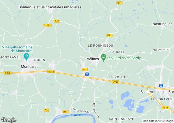 Map for Velines, Dordogne
