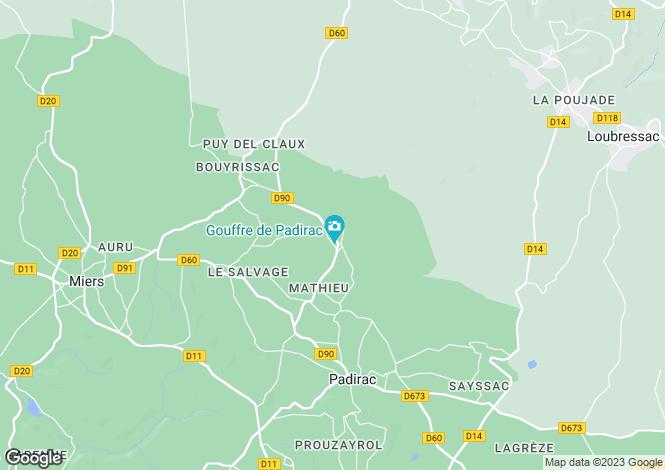 Map for Padirac, Lot, 46500, France