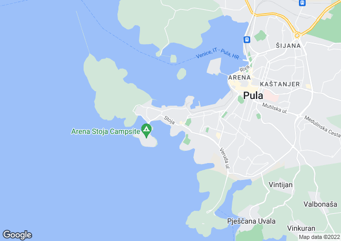 Map for Istra, Pula, Croatia