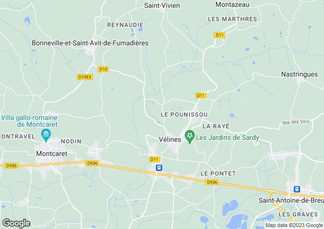 Map for Aquitaine, Dordogne, Vélines