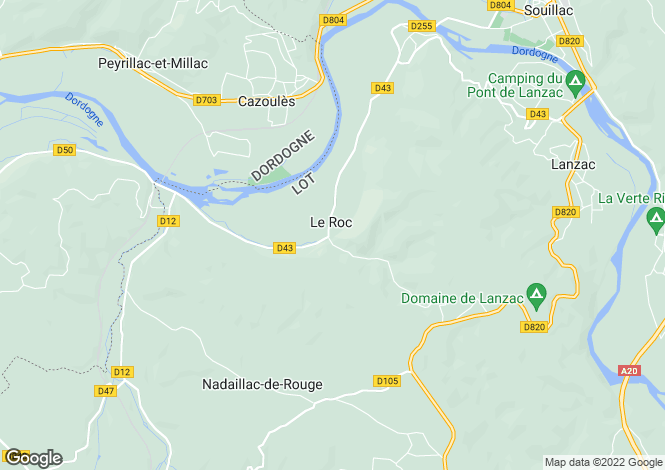 Map for le-roc, Lot, France