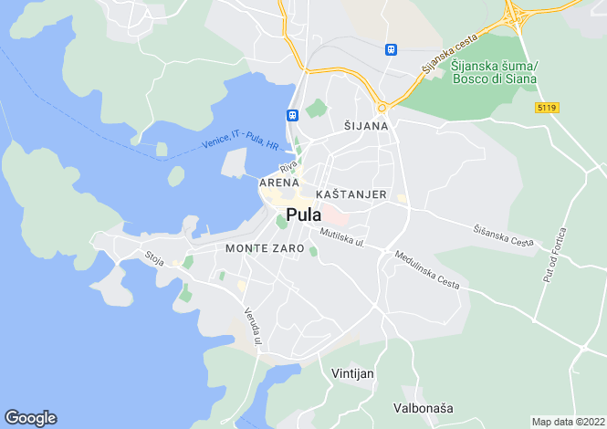 Map for Istra, Pula, Croatia