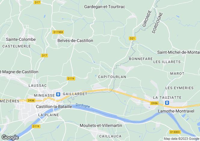 Map for Aquitaine, Gironde, Belvès-de-Castillon