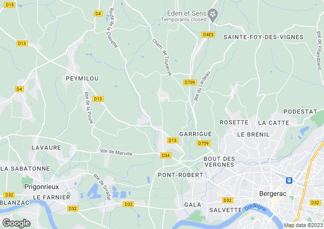Map for Nr Bergerac, Dordogne