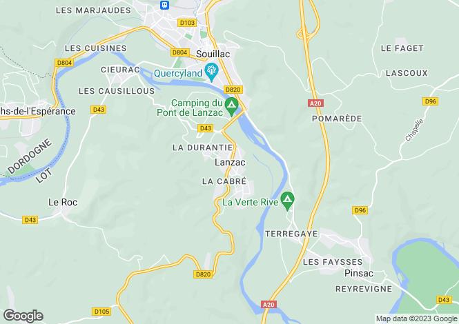 Map for Midi-Pyrénées, Lot, Lanzac