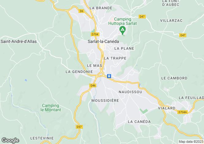 Map for Aquitaine, Dordogne, Sarlat-la-Canéda