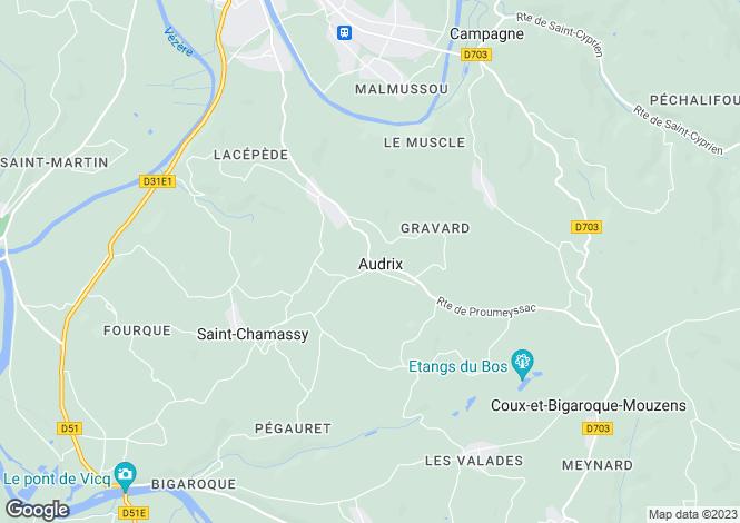 Map for Audrix, Dordogne, Aquitaine