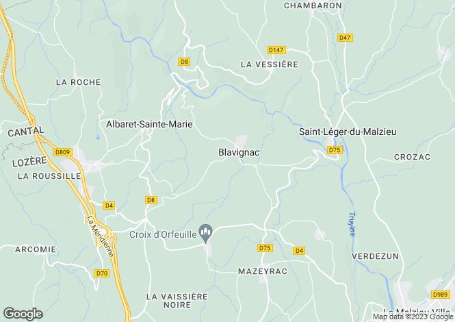 Map for Languedoc-Roussillon, Lozère, Blavignac