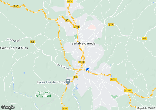 Map for Sarlat-la-Canéda, Dordogne, Aquitaine