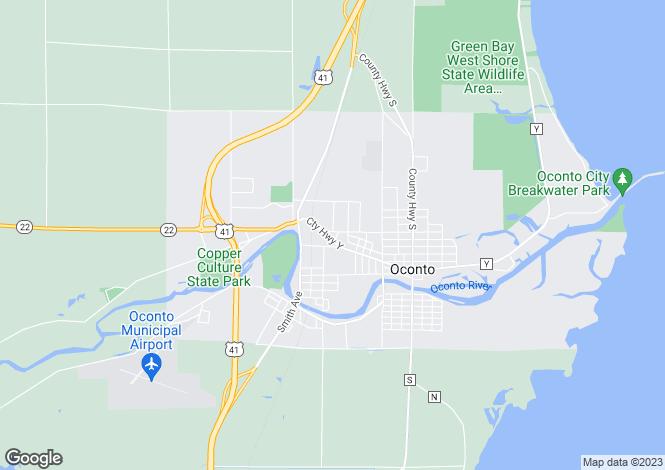 Map for Oconto, Oconto County, Wisconsin