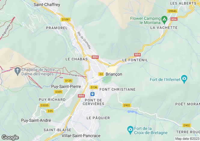 Map for Les Chalets d'Emma, Briancon