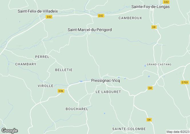 Map for Aquitaine, Dordogne, Pressignac-Vicq