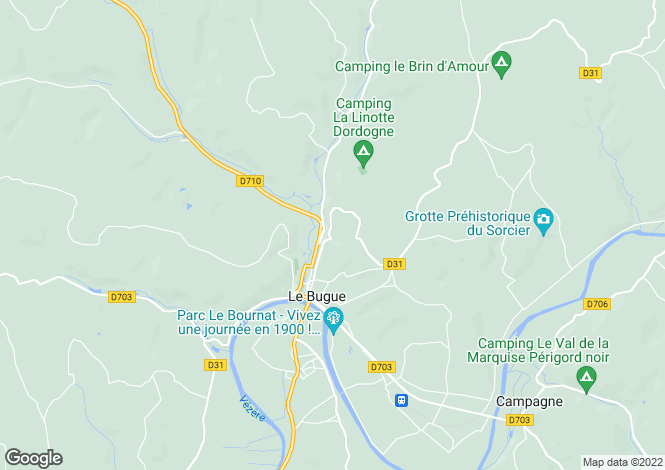 Map for Aquitaine, Dordogne, Le Bugue