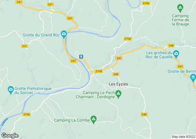 Map for Near Les Eyzies, Dordogne, South West France