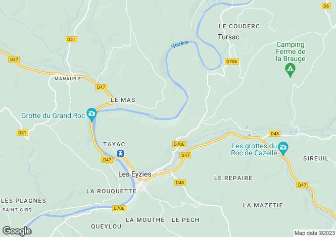 Map for Nouvelle-Aquitaine, Dordogne, Les Eyzies-de-Tayac-Sireuil