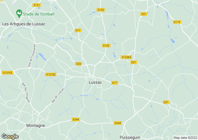Map for lussac-st-emilion, Gironde, France