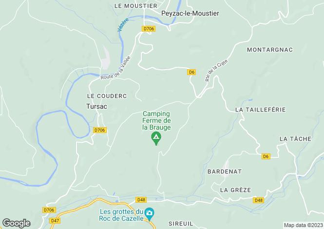 Map for Les Eyzies-de-Tayac-Sireuil, Dordogne, Aquitaine