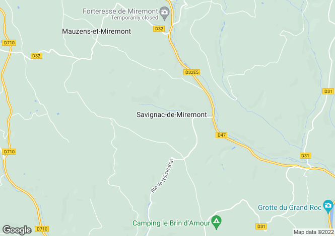 Map for savignac-de-miremont, Dordogne, France